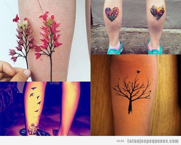 Tatuajes pequeños en el gemelo para mujer