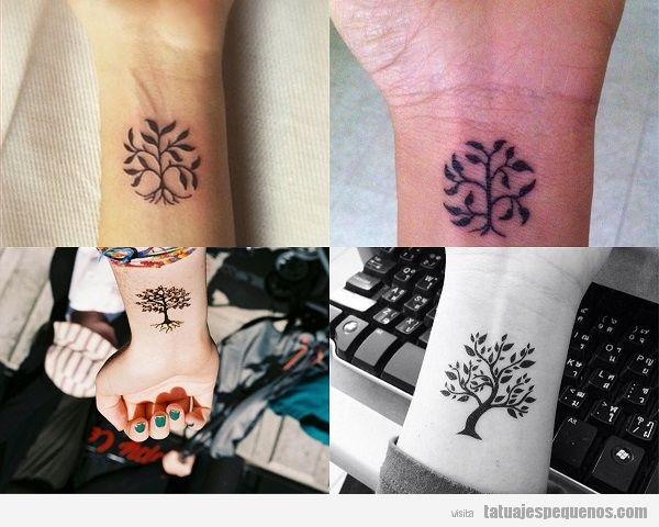 Tatuajes pequeños del árbol de la vida en la muñeca