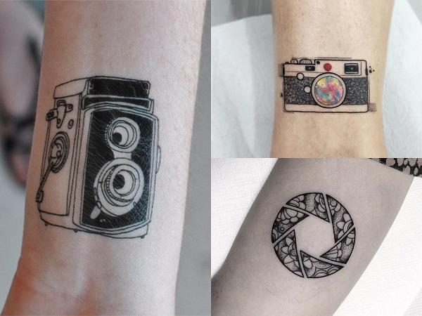 Tatuajes hipster para mujer, cámaras de fotos