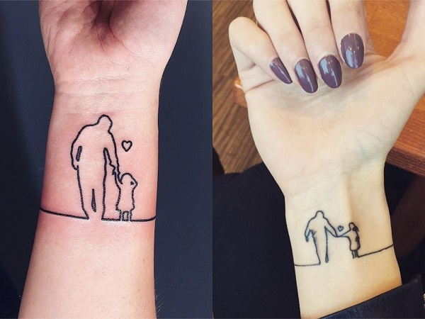 Tatuajes pequeños abuelos silueta