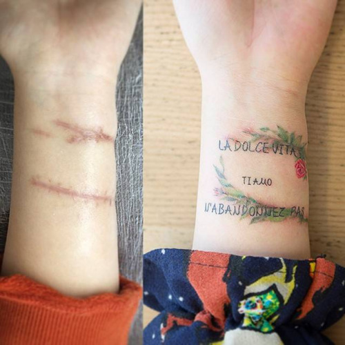 Tatuajes tapar cicatrices en la muñeca 2