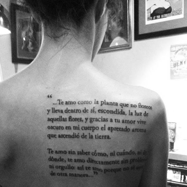 Tatuaje poema amor Neruda