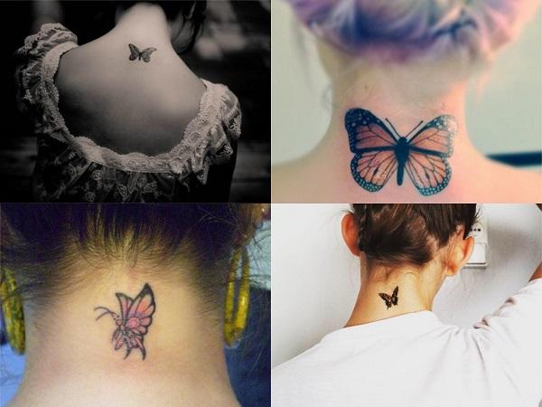 Tatuajes pequeños de mariposas en la nuca