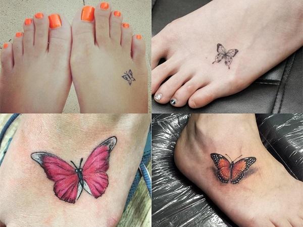 Tatuajes pequeños de mariposas en el pie