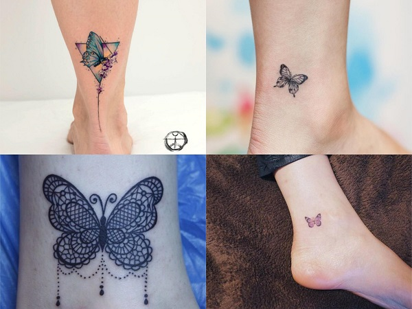 Tatuajes pequeños de mariposas en el tobillo
