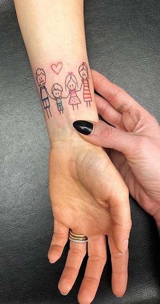 Tatuajes pequeños familia para mujer